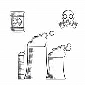 Destruction and environment pollution sketch icons with fuming chimneys and industrial pipes of chemical or power plant, radioactive waste with hazard sign and gas mask poster