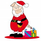 Illustration of Santa Claus Pig with Christmas gifts. poster