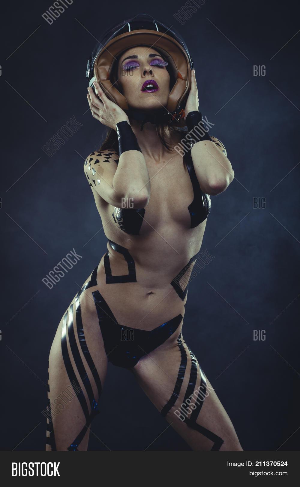 Girl motorcycle Naked