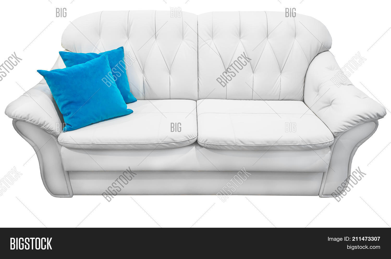 Cool White Sofa Blue Pillow Image Photo Free Trial Bigstock Gamerscity Chair Design For Home Gamerscityorg
