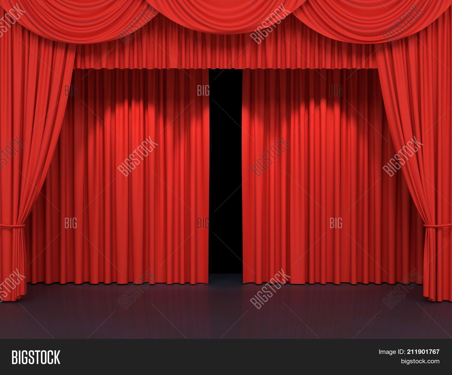 Red Stage Curtains Luxury Velvet Drapes Silk Drapery Realistic Closed Theatrical Cinema