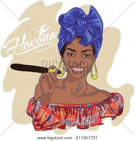 beautiful young Cuban woman holding a cigar