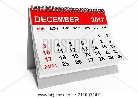 2017 year calendar. December calendar on a white background. 3d rendering