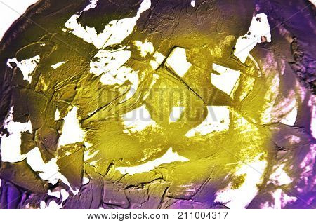 Gold, Yellow, Purple Background. Smears Of Oil Paint On White Background. Grunge Texture, Fresh Pain