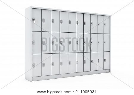 Metal Safety Lockers for Luggage on a white background. 3d Rendering