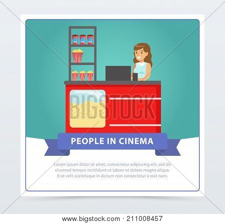 Saleswoman selling popcorn, people in cinema banner flat vector element for website or mobile app with sample text