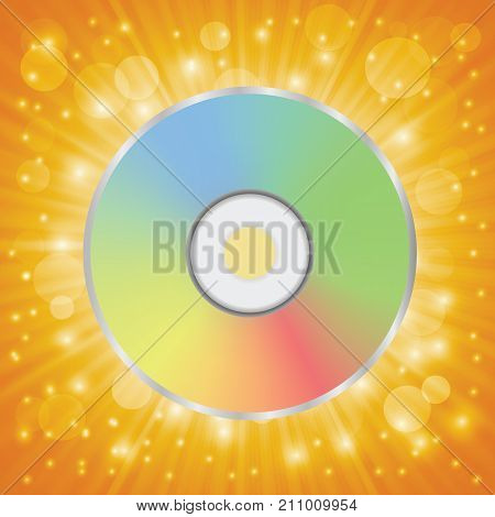 colorful illustration with disc icon isolated on orange background