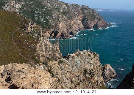 Cabo da Roca Coastline, the Western Point of Europe, Portugal.