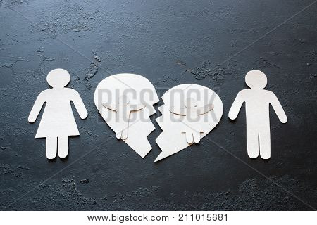 Paper Family And A Broken Heart Concept Divorce