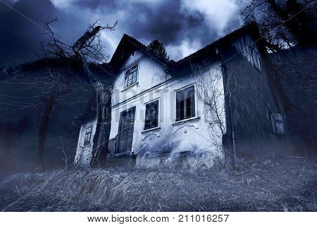 Abandoned Haunted Old House in Misty Forest