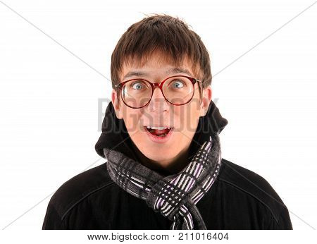 Funny Young Man in the Coat Isolated on the White Background