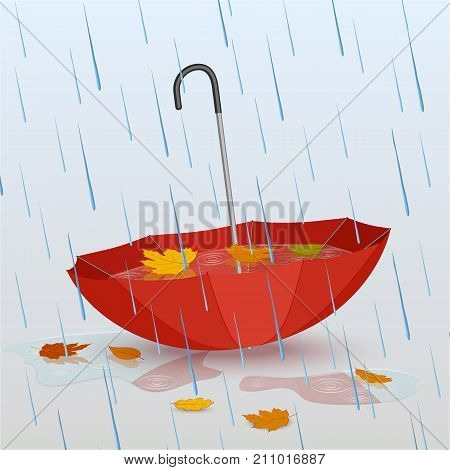Umbrella in the rain, puddles of water and fallen yellow leaves. Vector illustration, design for poster, banner, icons. Autumn.