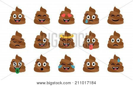Cute funny poop set. Emotional shit icons. Happy emoji, emoticons. Smiling faces symbols. Vector illustration.