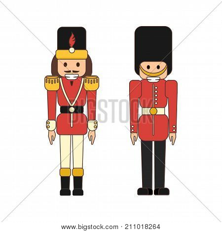 Two Nutcrackers Soldiers In Flat Style