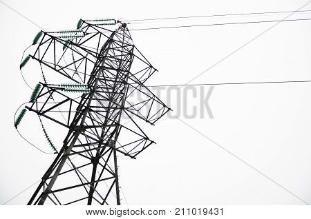 Electric Mast Isolated On White Background. Background For Design. Detail. Electro-electric Station,