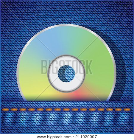 colorful illustration with CD disc on a blue jeans background