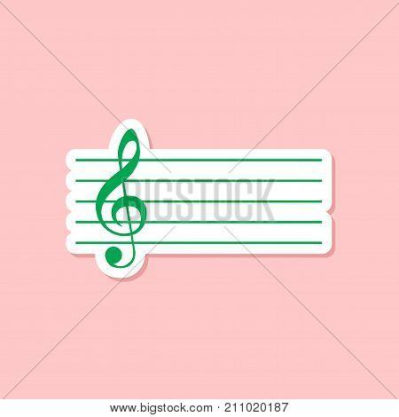 paper sticker on stylish background of treble clef