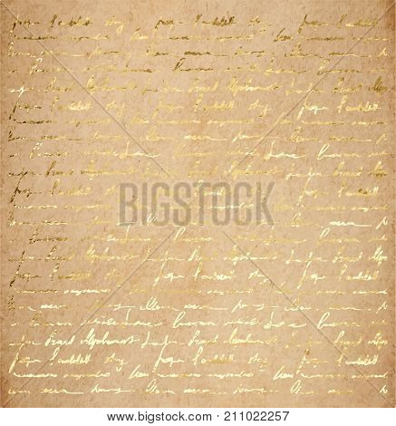 Old Paper With Golden Ink Handwriting Letter