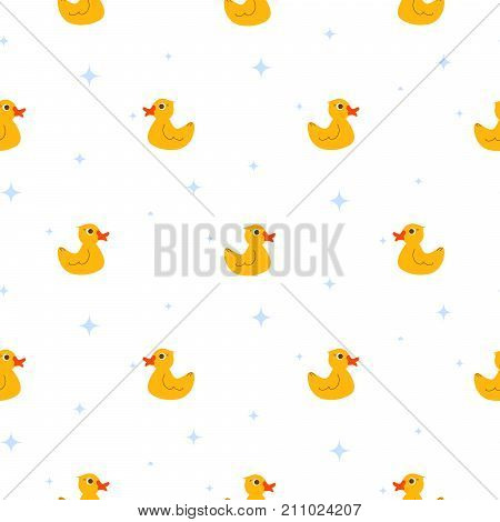 Cute ducks float on pond white seamless vector pattern. Cute kid cartoon repeat background for fabric textile, muslin blanket and wallpaper design.
