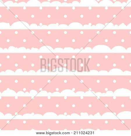 Pink and white polka dot clouds baby seamless vector pattern. Cute kid repeat background for fabric textile, muslin blanket and wallpaper design.
