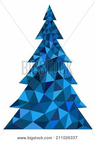 Abstract blue polygonal Christmas tree on a white background - vector