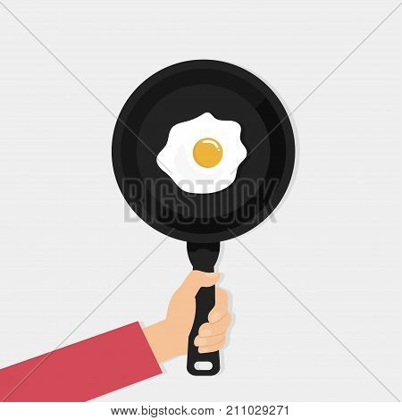 Fried eggs in a pan flat style isolated on white background. Pan vector illustration
