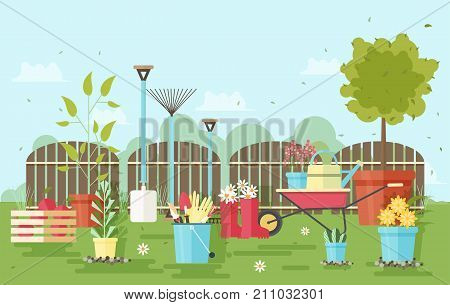 Gardening and agriculture equipment and tools against wooden fence and garden plants on background - wheelbarrow, watering can, shovel, rake, gloves, pruner, rubber boots, trowel. Vector illustration