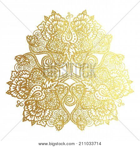 Vector illustration of tribal mandala with lotus flowers ans paisley element golden foil textire ornament isolated on white