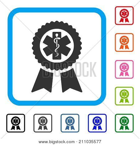 Achievement Medical Seal icon. Flat grey iconic symbol inside a light blue rounded frame. Black, gray, green, blue, red, orange color additional versions of Achievement Medical Seal vector.
