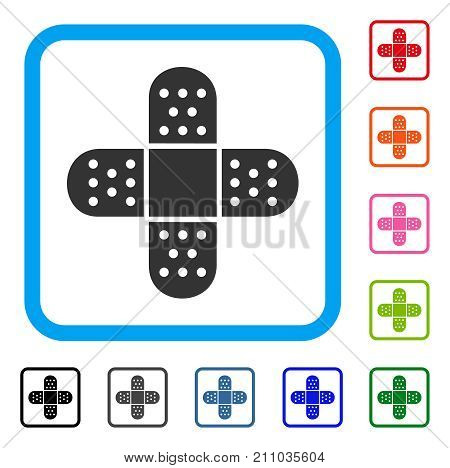 Adhesive Patch icon. Flat gray iconic symbol inside a light blue rounded square. Black, gray, green, blue, red, orange color versions of Adhesive Patch vector. Designed for web and app interfaces.