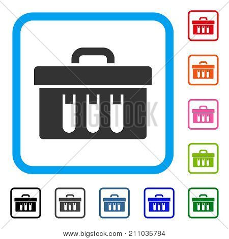 Analysis Case icon. Flat gray iconic symbol in a light blue rounded frame. Black, gray, green, blue, red, orange color additional versions of Analysis Case vector.