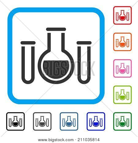 Analysis Glassware icon. Flat grey iconic symbol inside a light blue rounded square. Black, gray, green, blue, red, orange color versions of Analysis Glassware vector.