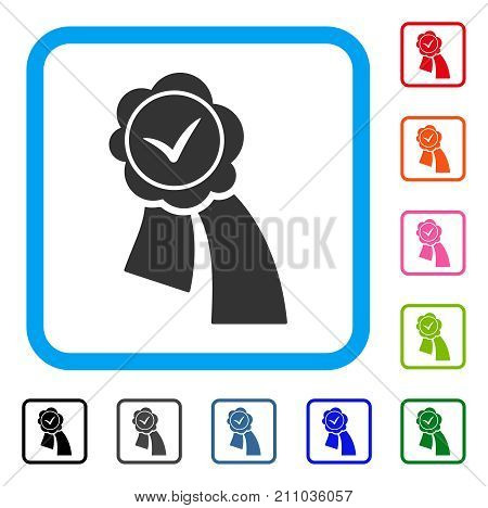 Approved Seal icon. Flat gray iconic symbol inside a light blue rounded squared frame. Black, gray, green, blue, red, orange color versions of Approved Seal vector. Designed for web and software UI.