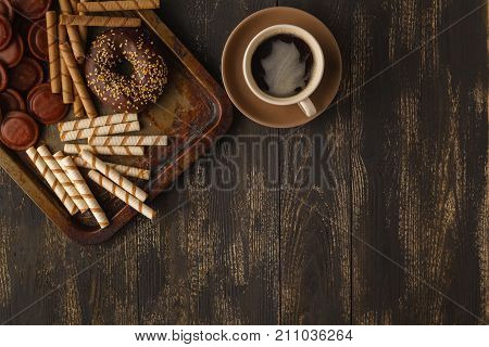 Breakfast Of Coffee And Chocolate Glazed Donut