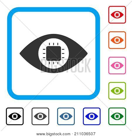 Bionic Eye Circuit icon. Flat grey pictogram symbol in a light blue rounded rectangular frame. Black, gray, green, blue, red, orange color additional versions of Bionic Eye Circuit vector.