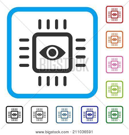 Bionic Vision Chip icon. Flat grey pictogram symbol inside a light blue rounded rectangular frame. Black, gray, green, blue, red, orange color variants of Bionic Vision Chip vector.