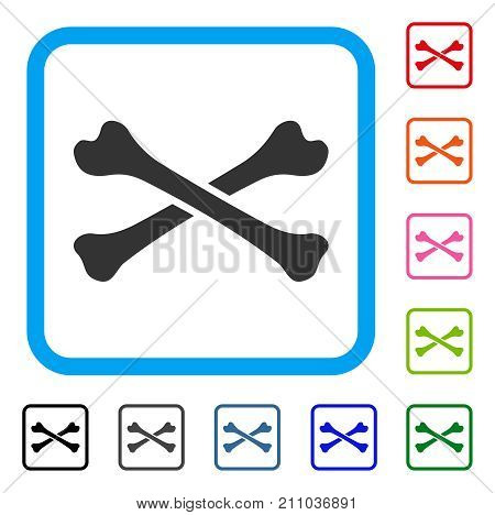 Bones icon. Flat grey iconic symbol inside a light blue rounded squared frame. Black, gray, green, blue, red, orange color versions of Bones vector. Designed for web and app interfaces.