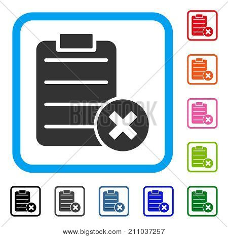 Cancel Test icon. Flat gray pictogram symbol in a light blue rounded rectangle. Black, gray, green, blue, red, orange color additional versions of Cancel Test vector.