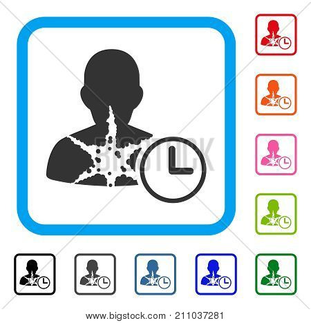 Cancer Patient Time icon. Flat grey iconic symbol in a light blue rounded frame. Black, gray, green, blue, red, orange color versions of Cancer Patient Time vector.