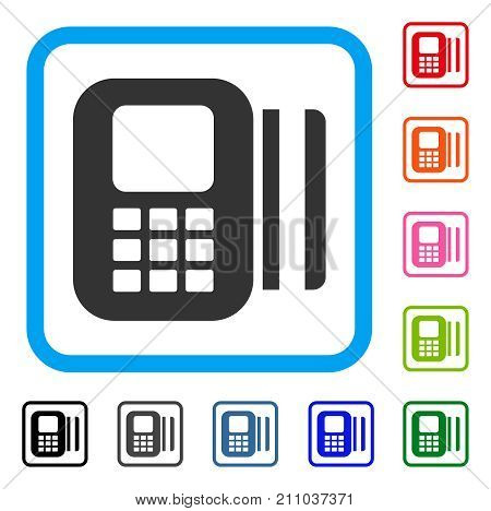 Card Reader icon. Flat grey iconic symbol inside a light blue rounded rectangle. Black, gray, green, blue, red, orange color variants of Card Reader vector. Designed for web and application UI.