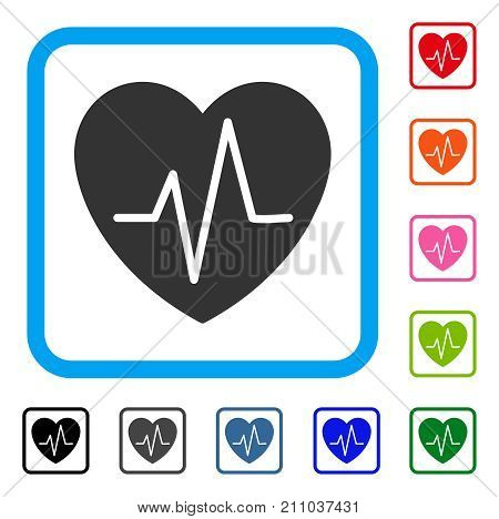 Cardiology Heart Pulse icon. Flat grey pictogram symbol in a light blue rounded rectangle. Black, gray, green, blue, red, orange color additional versions of Cardiology Heart Pulse vector.
