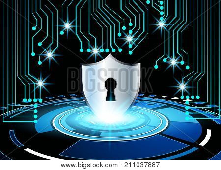 High-Tech Circuit Board and key lock virtual screen technology background abstract technology background Cyber Security Data Protection Business Technology Privacy concept vector illustration background.