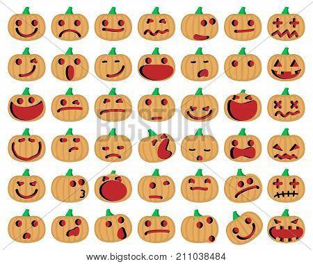 Halloween Pumpkins. Vector Illustration of A Set Of Halloween Pumpkins Emoticons Set.