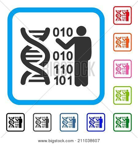 DNA Research icon. Flat grey iconic symbol in a light blue rounded rectangle. Black, gray, green, blue, red, orange color variants of DNA Research vector. Designed for web and app user interface.