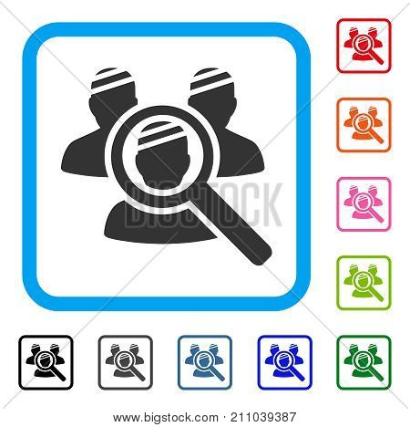 Explore Patients icon. Flat grey pictogram symbol in a light blue rounded squared frame. Black, gray, green, blue, red, orange color versions of Explore Patients vector. Designed for web and app UI.