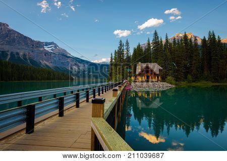 EMERALD LAKE, CANADA - JUNE 27, 2017 : Emerald Lake Lodge with a restaurant in Yoho National Park, British Columbia, Canada.