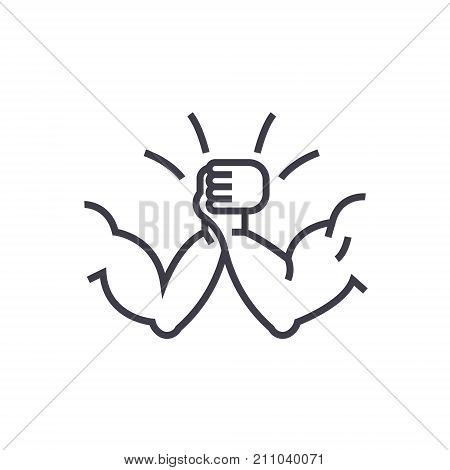 arm wrestling concept vector thin line icon, sign, symbol, illustration on isolated background