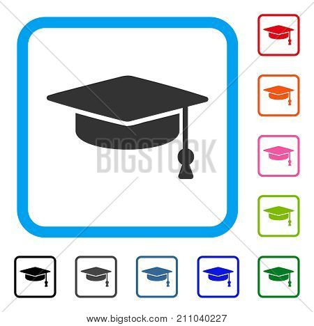 Graduation Cap icon. Flat grey pictogram symbol in a light blue rounded square. Black, gray, green, blue, red, orange color variants of Graduation Cap vector. Designed for web and software UI.