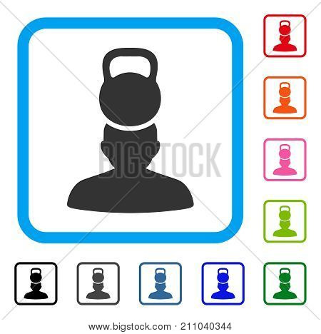 Head Weight Stress icon. Flat gray iconic symbol in a light blue rounded frame. Black, gray, green, blue, red, orange color variants of Head Weight Stress vector. Designed for web and app interfaces.