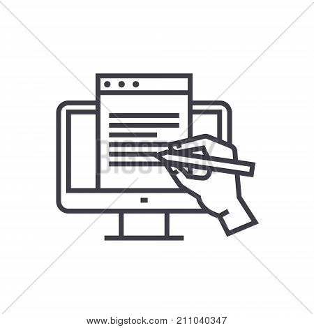 blogging, monitor with hand concept vector thin line icon, sign, symbol, illustration on isolated background